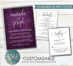 Color Purple Seating Chart Plum Wedding Invitation Any Color Plum Wedding Invite