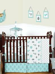 aqua baby bedding turquoise grey gender neutral arrow bird baby boy girl nature crib bedding set