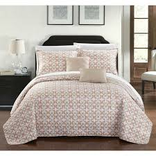 Chic Home 9-piece Pamelia Taupe Fleur De Lis Patterned Reversible Quilt Set