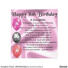 Daughter Poem 16th Birthday Notepad Zazzlecouk Daughter