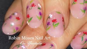 Easy Floral Nail Designs French Pink With Floating Flowers Diy Easy Floral Nail