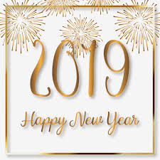 happy new year 2019 with fireworks and golden frame creative new year png