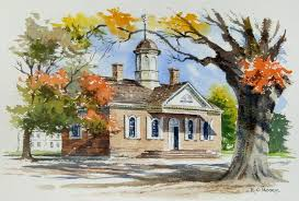 watercolor painting of courthouse williamsburg virgina