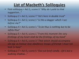 soliloquy s foreshadowing ppt list of macbeth s soliloquies