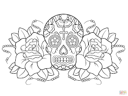 Small Picture Sugar Skull and Roses coloring page Free Printable Coloring Pages