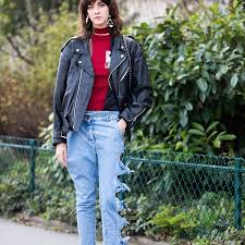 cool look in special jeans street style jeans and leather jacket