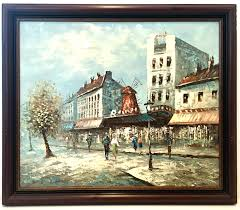 mid century original oil on canvas painting paris street scene by burnett for at 1stdibs