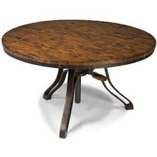 Cranfill Industrial Aged Pine Adjustable Crank Round Coffee Table