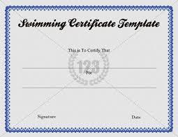 Free Swimming Certificate Template Download 123certificate