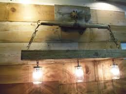 reclaimed barn beam and antique horse yoke chandelier mason jar light fixtures