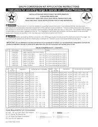 Propane Orifice Chart Frigidaire Bggf3042kfu User Manual Gas Range Manuals And
