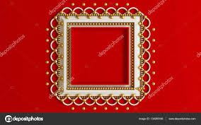 red background with a beautiful frame on the wall in the interio stock photo