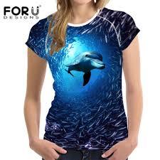 <b>FORUDESIGNS Women'S T Shirt</b> Cute Animal Dolphin Printed T ...
