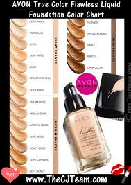 Makeup Foundation Color Chart True Color Flawless Liquid Foundation In 2019 Avon Avon
