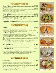 mexican food menu. Delighful Food El Sabrocito Best Mexican Restaurant Waukegan Tacos Burrito Menu Inside  Food Items 2018 27640 Inside