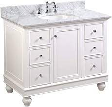 Bella 42 Inch Bathroom Vanity Carrara White Includes White Cabinet With Authentic Italian Carrara Marble Countertop And White Ceramic Sink Amazon Com