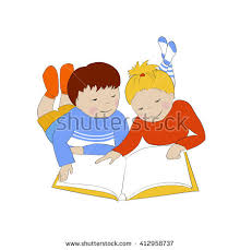 two children reading and boy lying on floor kids read book vector