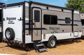 2019 kz rv sportsmen clic 180th travel trailer toy hauler exterior rear 3 4 door