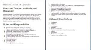 Education Job Descriptions Preshool Teacher Job Profile And