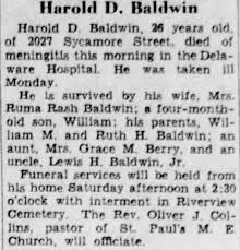 Harold Baldwin dead of meningitis - Newspapers.com