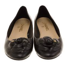 Chanel Ballerina Flats Size Chart Chanel Black Leather Camelia Flower Ballet Flats Size 39