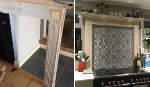 claire sanders has ingeniously repurposed a fireplace surround as a frame to her cooker splash back using rust oleum chalky finish furniture paint in