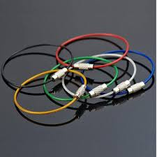 10pcs lot colorful stainless steel wire rope key chain keychain carabiner cable rings outdoor hiking keyfob accessories