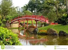 Japanese Style Garden Bridges Red Curved Bridge Japanese Garden Stream Stock Photo Image