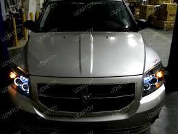dodge caliber black dual halo projector led headlights 07 10 dodge caliber black dual halo angel eyes projector led headlights