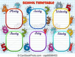 Weekly Timetable Planner School Timetable Week Schedule Cartoon Numbers