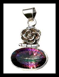 indian silver pendant and mystic topaz