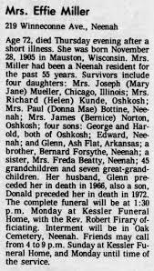Effie Miller (Obituary) (Post Crescent) - Newspapers.com
