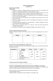 Learning material (science) 5 yes. Pdf Module In Mapeh Grade 7 Quarter First Music Music Of Cordillera Competencies John Asley Lunnay Academia Edu