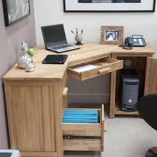 computer table design for office. home computer desks modern corner desk furniture with untreated made of wood oak material having some slide drawer and cabinet l shaped design table for office
