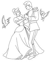 disney cinderella coloring pages prince charming and two little birds in coloring page disney princess