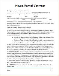 house rental agreement sample house rental contract template business