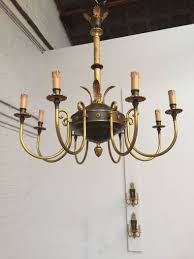 empire style old brass chandelier with wall lights vintage royal green arm chandelier with sconces