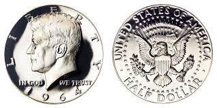 1964 Kennedy Silver Half Dollar Heavily Accented Hair 90