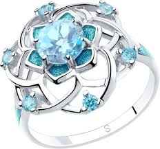 Серебряное <b>кольцо SOKOLOV 92011810_s</b> с топазом, фианитами