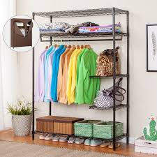 Heavy Duty Coat Rack With Shelf LANGRIA Heavy Duty Commercial Grade Clothing Garment Rack Portable 52