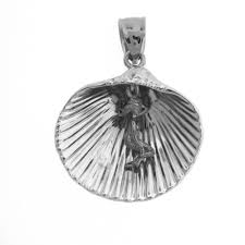 sterling silver 925 shell with mermaid pendant sterling silver pendants at jewelsobsession com
