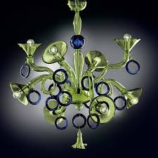 green and blue modern murano glass chandelier dml503k8gb