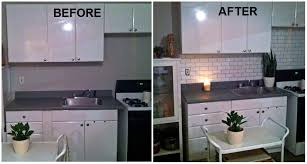 Painting Kitchen Tile Backsplash Adorable I Created A Faux Subway Tile Backsplash Using A Brick Stencil From