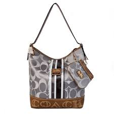 Latest Coach In Signature Medium Grey Shoulder Bags Ayj Sale cSGIc