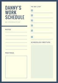 Ivory Lines Work Schedule Planner Templates By Canva