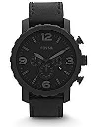 amazon com 50mm over wrist watches watches clothing shoes fossil men s jr1354 nate stainless steel chronograph watch black leather band