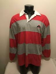 vtg ohio state buckeyes striped rugby pro player long sleeve shirt mens size l