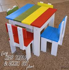 Build an easy table and chair set for the little kids. The costs about Simple Kid\u0027s Table Chair Set - Her Tool Belt
