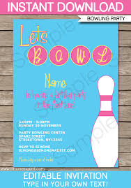 Bowling Party Invitations Bowling Party Invitation Template Pink Birthday Party