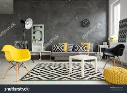 Yellow And Grey Living Room Grey Living Room Sofa Chairs Standing Stock Photo 398322925